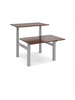 Elev8 Mono sit-stand back-to-back desks 1200mm x 1650mm - silver frame, walnut top