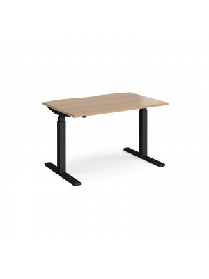 Elev8 Touch straight sit-stand desk 1200mm x 800mm - black frame, beech top