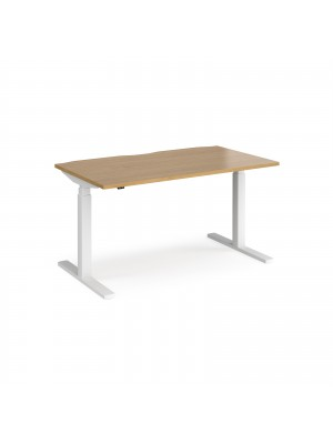 Elev8 Touch straight sit-stand desk 1400mm x 800mm - white frame, oak top