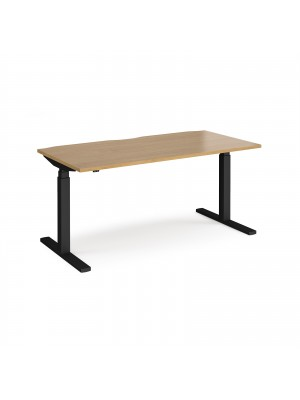 Elev8 Touch straight sit-stand desk 1600mm x 800mm - black frame, oak top
