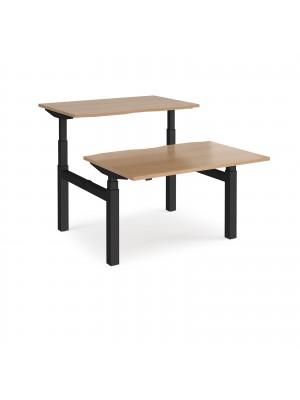 Elev8 Touch sit-stand back-to-back desks 1200mm x 1650mm - black frame, beech top
