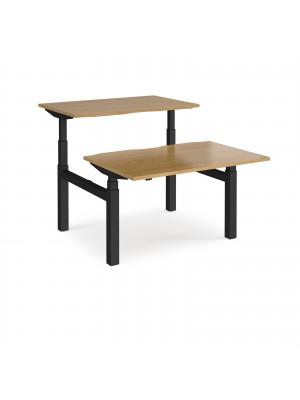 Elev8 Touch sit-stand back-to-back desks 1200mm x 1650mm - black frame, oak top
