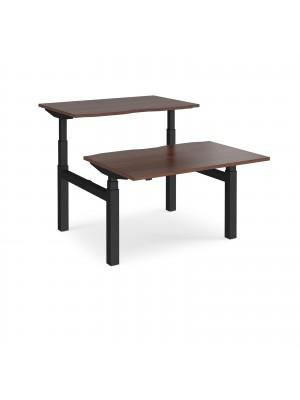 Elev8 Touch sit-stand back-to-back desks 1200mm x 1650mm - black frame, walnut top