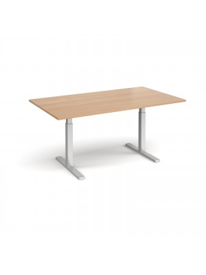 Elev8 Touch boardroom table 1800mm x 1000mm - silver frame, beech top