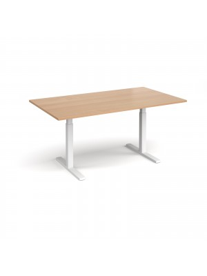 Elev8 Touch boardroom table 1800mm x 1000mm - white frame, beech top