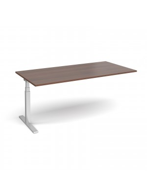 Elev8 Touch boardroom table add on unit 2000mm x 1000mm - silver frame, walnut top