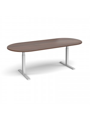 Elev8 Touch radial end boardroom table 2400mm x 1000mm - silver frame, walnut top