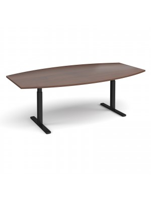 Elev8 Touch radial boardroom table 2400mm x 800/1300mm - black frame, walnut top