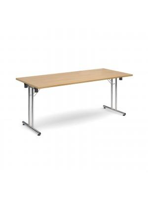 Rectangular deluxe folding leg table 1800mm x 800mm - oak