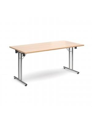 Rectangular deluxe folding leg table 1600mm x 800mm - beech