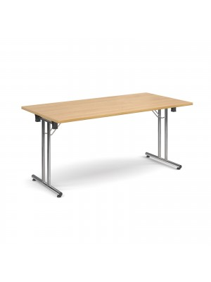 Rectangular deluxe folding leg table 1600mm x 800mm - oak