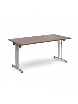 Rectangular deluxe folding leg table 1600mm x 800mm - walnut