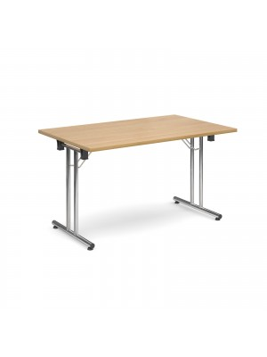 Rectangular deluxe folding leg table 1300mm x 800mm - oak
