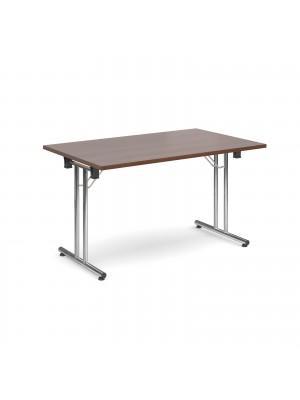 Rectangular deluxe folding leg table 1300mm x 800mm - walnut