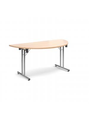 Semi circular deluxe folding leg table 1600mm x 800mm - beech