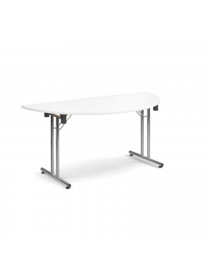 Semi circular deluxe folding leg table 1600mm x 800mm - white
