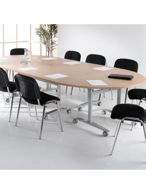 Semi circular deluxe fliptop meeting table with silver frame 1600mm x 800mm - walnut