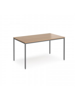 Rectangular flexi table with graphite frame 1400mm x 800mm - beech