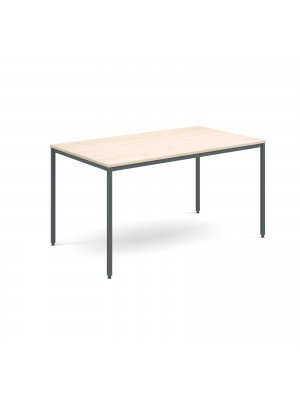 Rectangular flexi table with graphite frame 1400mm x 800mm - maple