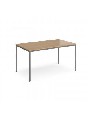 Rectangular flexi table with graphite frame 1400mm x 800mm - oak