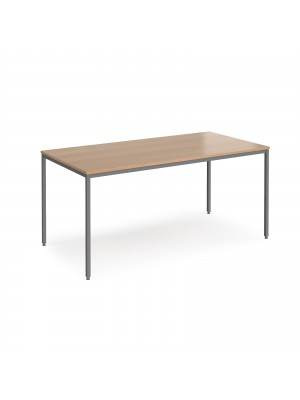 Rectangular flexi table with graphite frame 1600mm x 800mm - beech