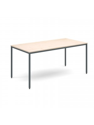 Rectangular flexi table with graphite frame 1600mm x 800mm - maple
