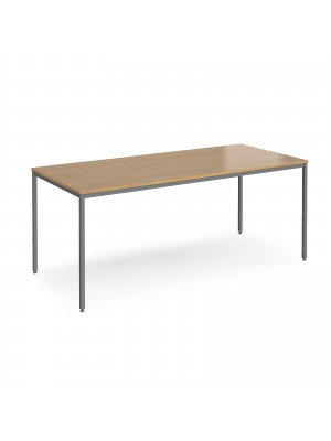 Rectangular flexi table with graphite frame 1800mm x 800mm - oak