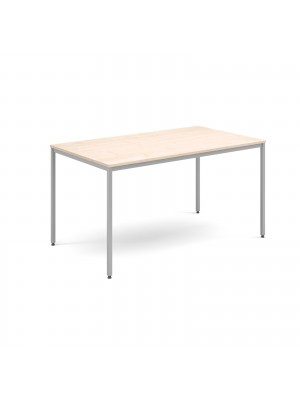 Rectangular flexi table with silver frame 1400mm x 800mm - maple