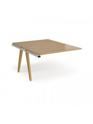 Fuze add on units back to back 1200mm x 1600mm - white frame, oak top