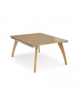 Fuze back to back desks 1200mm x 1600mm - white frame, oak top