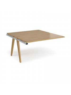 Fuze add on units back to back 1400mm x 1600mm - white frame, oak top