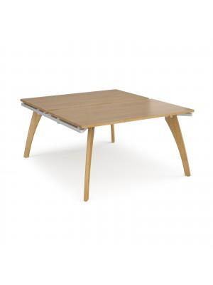 Fuze back to back desks 1400mm x 1600mm - white frame, oak top