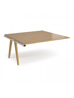 Fuze add on units back to back 1600mm x 1600mm - white frame, oak top