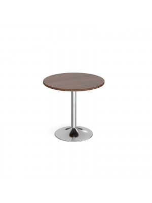 Genoa circular dining table with chrome trumpet base 800mm - walnut