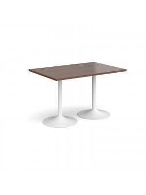Genoa rectangular dining table with white trumpet base 1200mm x 800mm - walnut