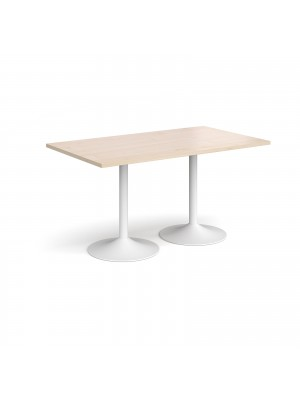 Genoa rectangular dining table with white trumpet base 1400mm x 800mm - maple