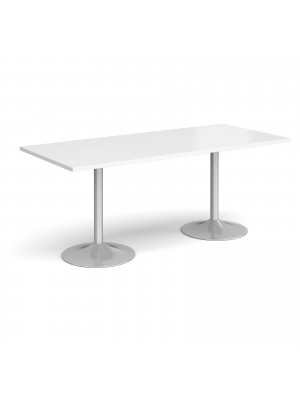 Genoa rectangular dining table with silver trumpet base 1800mm x 800mm - white