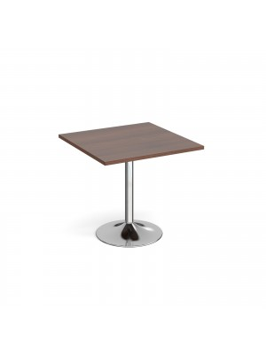 Genoa square dining table with chrome trumpet base 800mm - walnut