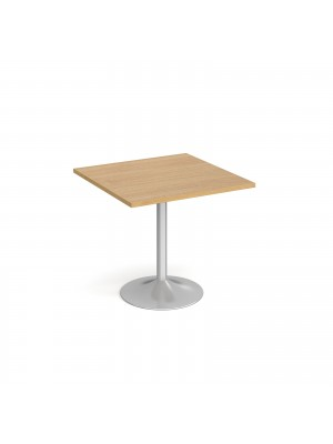 Genoa square dining table with silver trumpet base 800mm - oak