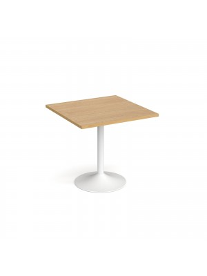 Genoa square dining table with white trumpet base 800mm - oak