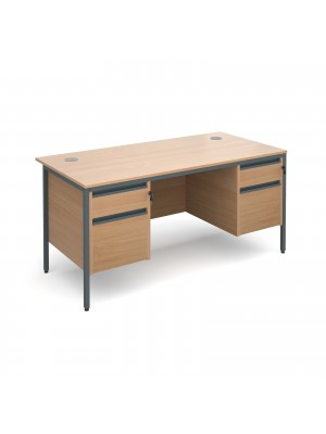 Maestro H-Frame straight desk with 2 and 2 drawer pedestals 1532mm - beech