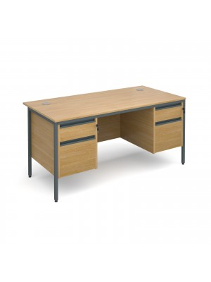 Maestro H frame straight desk with 2 and 2 drawer pedestals 1532mm - oak