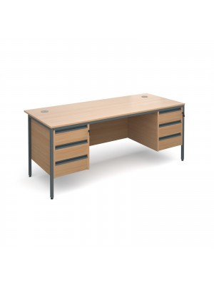 Maestro H-Frame straight desk with 3 and 3 drawer pedestals 1786mm - beech