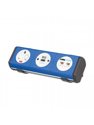Hubble clip-on power module 1 x UK socket, 1 x TUF (A&C connectors) USB charger, 2 x RJ45 sockets - black