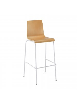 Fundamental dining stool in beech with white frame