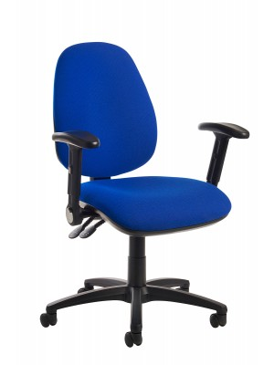 Jota high back operator chair with folding arms - blue