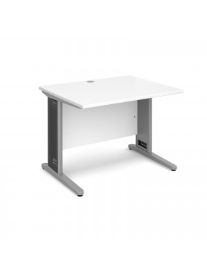 Largo straight desk 1000mm x 800mm - silver cantilever frame with removable grill, white top