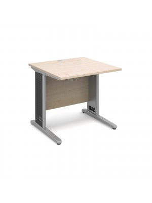 Largo straight desk 800mm x 800mm - silver cantilever frame with removable grill, maple top