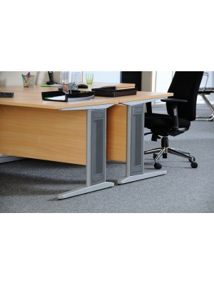 Largo left hand ergonomic desk 1400mm - silver cantilever frame with removable grill, beech top