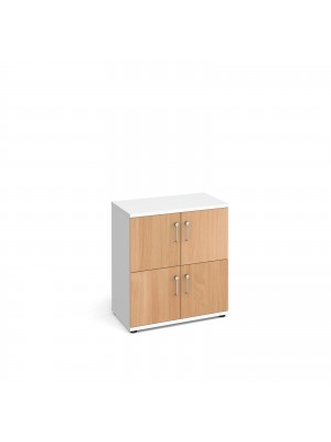 Wooden storage lockers 4 door - white with beech doors